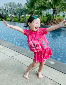 Fashion Rose Red Skirt Flower Rabbit Childrens Buoyancy Split Swimsuit With Leaf Print