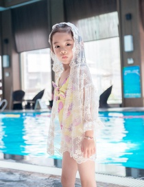 Fashion 2070 Blouse Pineapple Print Bowknot Cutout Childrens One-piece Swimsuit Coverall