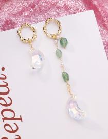 Fashion Golden Irregular Ring Crystal Moon Asymmetric Earrings