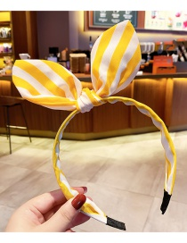 Fashion Yellow Stripes Rabbit Ears Checkered Wave Point Non-slip Children's Headband