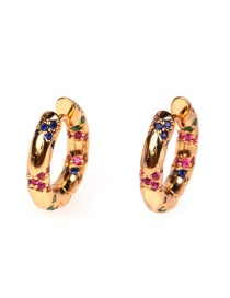 Fashion Golden Copper Inlaid Zircon Geometric Earrings