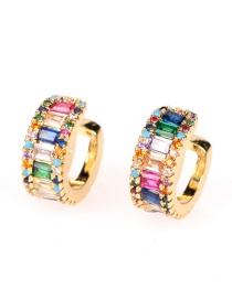 Fashion Color Mixing Copper Inlaid Zircon Geometric C-shaped Non-pierced Ear Bone Clip