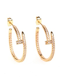 Fashion Golden Copper Inlaid Zircon Nail Geometric Earrings
