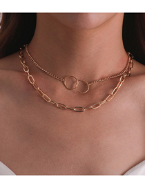 Fashion Golden Circle Cross Thick Chain Alloy Multilayer Necklace