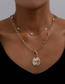 Fashion Golden Round Pearl Thick Chain Ot Buckle Multilayer Necklace