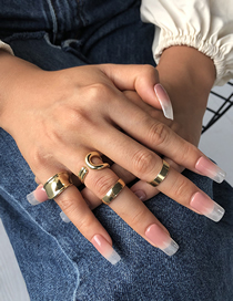 Fashion Golden Plating Real Gold Color Preserving Geometric Open Ring Set
