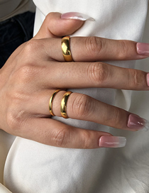 Fashion Golden Plating Real Gold Color Preserving Glossy Ring Set