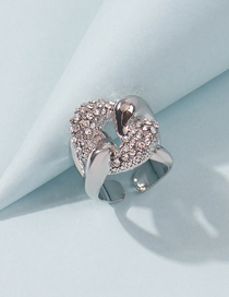 Fashion White K Diamond And Knotted Hollow Open Ring