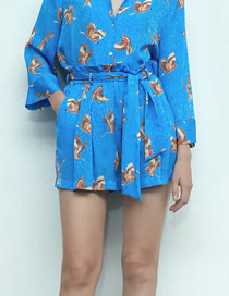 Fashion Blue Printed Bow Tie Belt Paper Bag Shorts