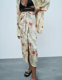 Fashion Floral Flower Print Slit Bow Skirt