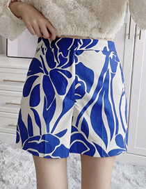 Fashion Blue Print Floral Print Loose Shorts
