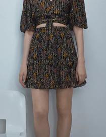 Fashion Black Print Flower Print Elastic Waist Skirt