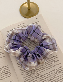 Fashion Purple Taro Plaid Fabric Large Intestine Ring Hair Rope