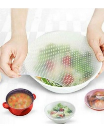 Fashion White 4-piece Set Of Silicone Food Plastic Wrap Multifunctional Bowl Cover