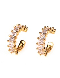 Fashion Golden Copper Inlaid Zircon Geometry Without Pierced Ears