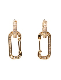 Fashion Pin Rectangular Pin Pendant Copper And Zircon Earrings