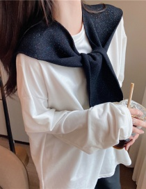 Fashion Black Knitted Knotted Butterfly Shoulder Shawl