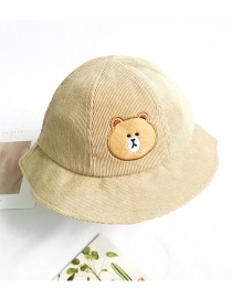 Fashion Bear Sun-shading And Sunscreen Animal Embroidery Childrens Fisherman Hat