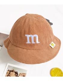 Fashion Caramel Sun Shade Embroidered Fisherman Hat For Children