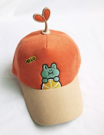 Fashion Orange Frog Embroidery Stitching Contrast Color Shade Childrens Cap