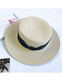 Fashion Beige Sunshade Hollow Breathable Flat-brimmed Top Hat
