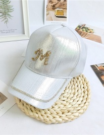 Fashion M White Letter Cap With Diamond Butterfly Flowers