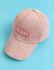 Fashion Pink Corduroy Cap With Chinese Characters For Children