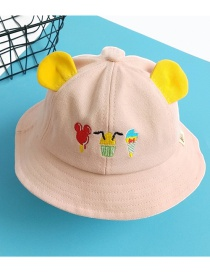 Fashion Pink Bear Ears Stitching Contrast Color Embroidery Childrens Fisherman Hat