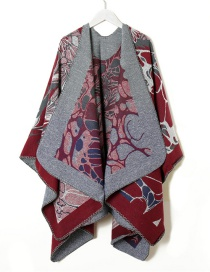 Fashion Wine Red Knitted Flower Print Big Shawl Sun Protection Coat Cloak