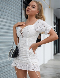 Fashion White Cotton Chain Link Fence Slim Hollow Tether Dress