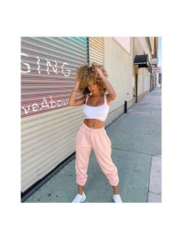 Fashion Pink Drawstring Elastic Waist Tether Sports Trousers