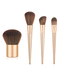Fashion Champagne Gold Pure Color Wooden Handle Nylon Hair Makeup Brush