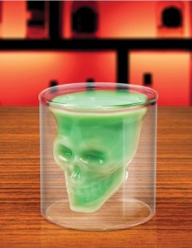 Fashion Green Skull Double Transparent Crystal Wine Glass