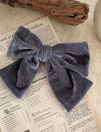 Fashion Gray Velvet Big Bow Fabric Alloy Hairpin