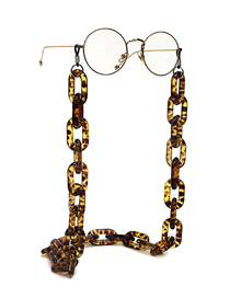 Fashion Amber Resin Acrylic Plastic Leopard Print Anti-slip Anti-lost Glasses Chain