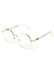 Fashion Golden Anti-blue Metal Geometric Flat Glasses