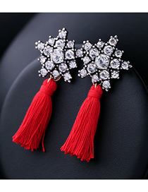 Fashion Red Fringed Crystal And Diamond Flower Earrings