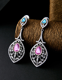 Fashion Silver Alloy Diamond-studded Geometric Hollow Earrings