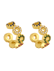 Fashion Color Mixing Zircon Inlaid Geometric Alloy Without Pierced Ear Clip