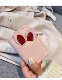 Fashion Pink Soft Face Rabbit Ear Lace Short Wallet