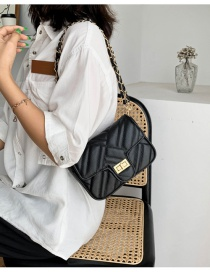 Fashion Black Chain Rhomboid Lock Crossbody Shoulder Bag