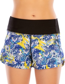 Fashion Blue Printed Stitching Anti-glare Sports Zipper Yoga Shorts