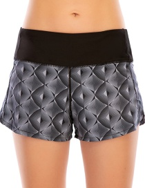 Fashion Black Printed Stitching Anti-glare Sports Zipper Yoga Shorts