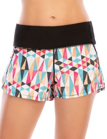 Fashion Color Mixing Printed Stitching Anti-glare Sports Zipper Yoga Shorts