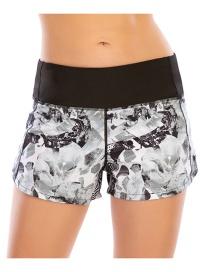 Fashion Black And White Printed Stitching Anti-glare Zipper Yoga Shorts