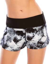 Fashion Black And White Printed Stitching Anti-glare Sports Zipper Yoga Shorts