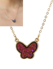 Fashion Purple Crystal Cluster Butterfly Alloy Necklace