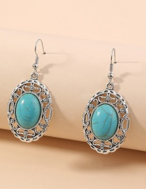 Fashion Silver Turquoise Hollow Oval Earrings