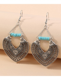 Fashion Silver Carved Heart-shaped Alloy Hollow Earrings