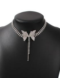 Fashion White K Diamond Butterfly Alloy Tassel Necklace